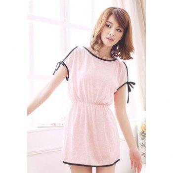 Women's Cute Color Splicing Lace-Up Elastic Waist Off-The-Shoulder Dress
