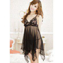Sexy Style Lace Splicing Voile Irregular See-Through Women's Night Dress