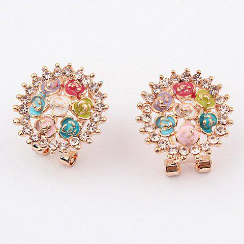 Pair of Fashion Exquisite Rhinestoned Rose Embellished Earrings For Women
