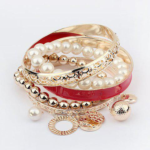 6PCS Of Chic Style Pearl and Coin Shape Pendants Design Openwork Bracelets - RED