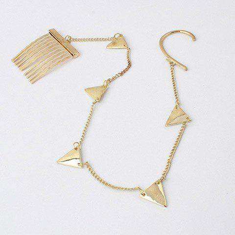 Hot Sale Triangle and Comb Shape Design Long Tassel Clip Earring - AS THE PICTURE