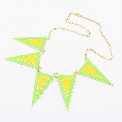 Exaggerated Style Colored Glaze Decorated Triangle Shape Necklace - YELLOW