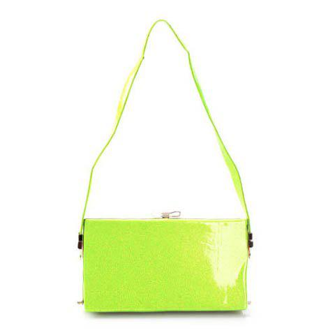 New Arrival Solid Color and Sparking Glitter Design Shoulder Bag For Women - GREEN
