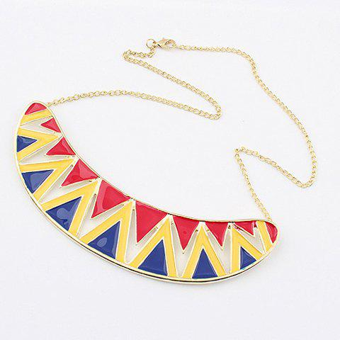 Triangle Patterns Crescent Shape Sweater Chain Necklace - COLOR ASSORTED