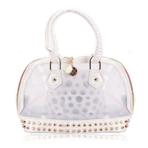 Fashion Style Transparent and Rivets Design Women's Totes - WHITE