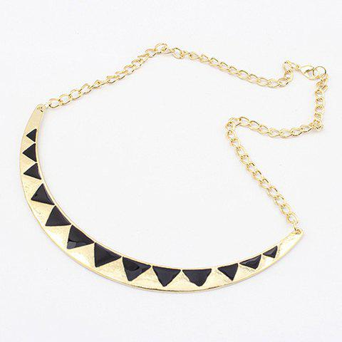 Hot Sale Simple Color Glazed Triangle Embellished Women's Long Crescent Pendant Alloy Necklace - AS THE PICTURE