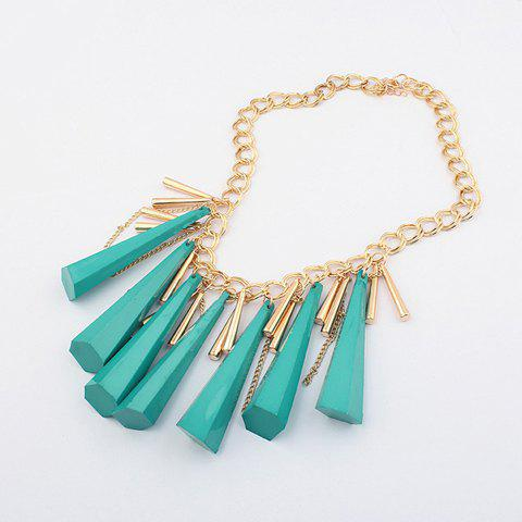 Characteristic Living Color Womwn's Cone Pendant Tassel Alloy Necklace - BLUE