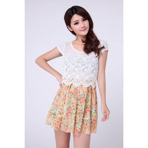Sweet Lacework Floral Print Splicing Short Sleeves Women's Chiffon Dress - AS THE PICTURE S