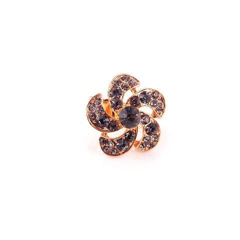 Flower Faux Crystal Embellished Alloy Finger Ring - GRAY ONE SIZE