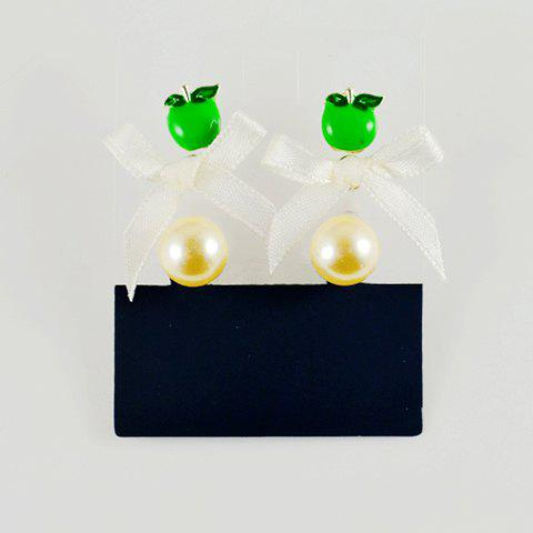 Sweet Apple Bowknot Faux Pearl Drop Earrings