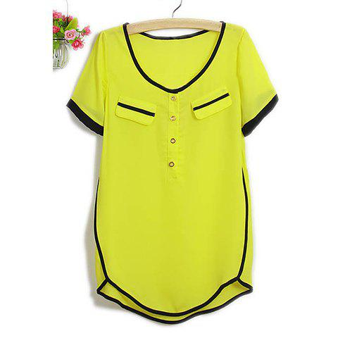 Women's Charming Scoop Neck Short Sleeve Chiffon Blouse - YELLOW M