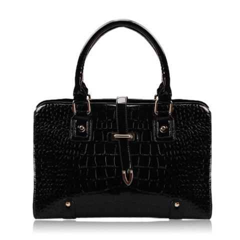 Casual Solid Color and Push-Lock Frame Closure Design Women's Tote Bag - BLACK