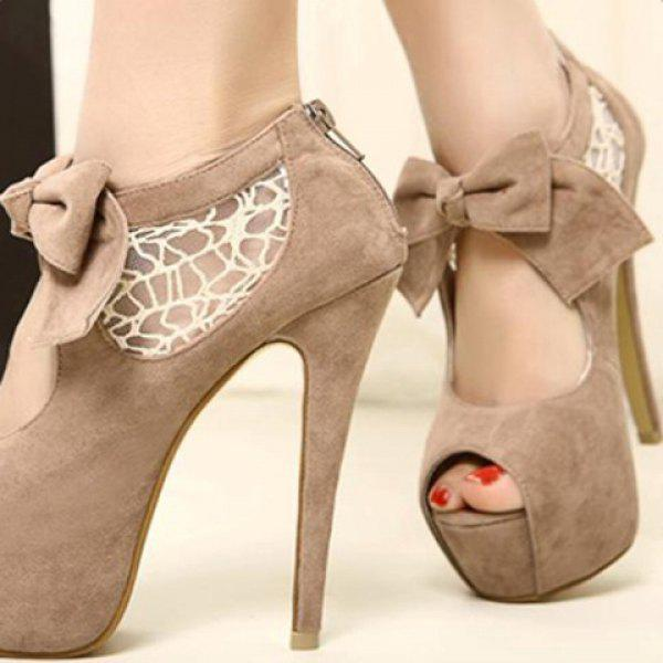 Lace and Suede Bowknot Design Peep Toed Shoes For Women