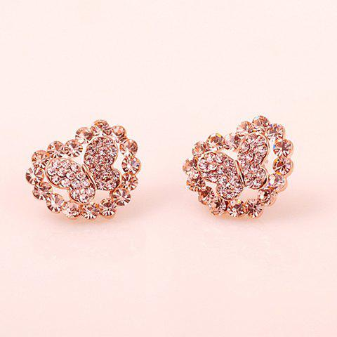 Pair of Rhinestone Decorated Butterfly and Heart Shape Stud Earrings For Women