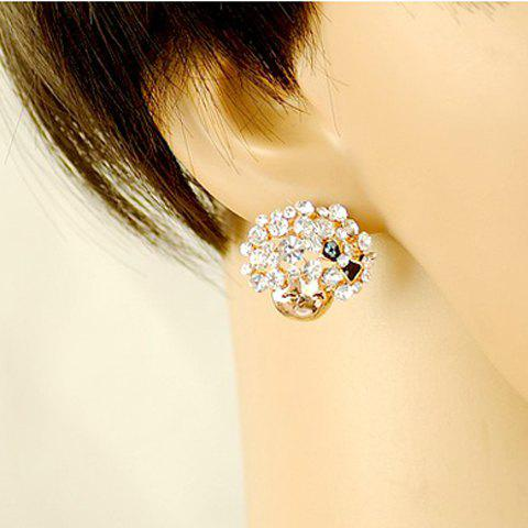 Pair of Cute Brilliant Rhinestoned Women's Mushroom Head Smiling Girl Earrings