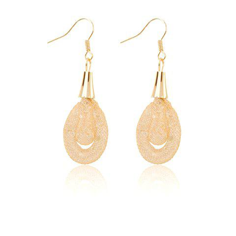 Pair of Dazzling Women's Crystal Oval Pendant Earrings - GOLD