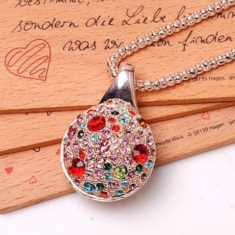 Characteristic Multicolor Rhinestoned Ball Shape Pendant Women's Sweater Chain Necklace - COLOR ASSORTED