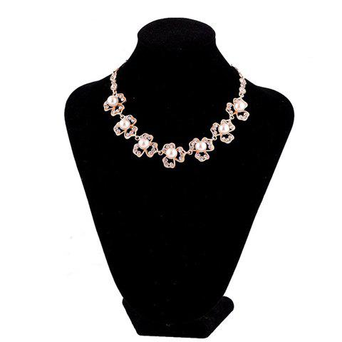 Chic Style Faux Pearl Decorated Clover Shape Pendants Necklace For Women - AS THE PICTURE