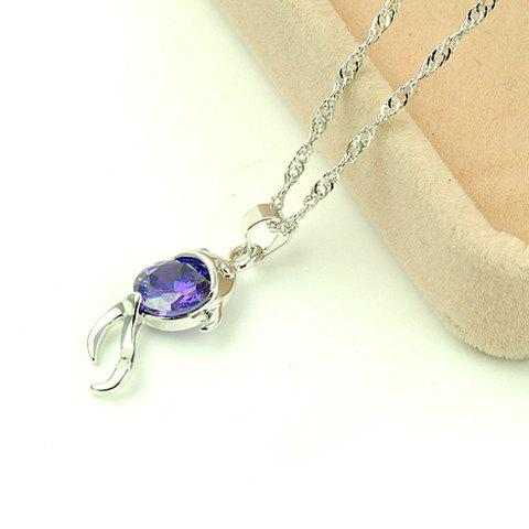 Sweet Chic Style Crystal Design Little Fish Shape Women's Pendant Necklace