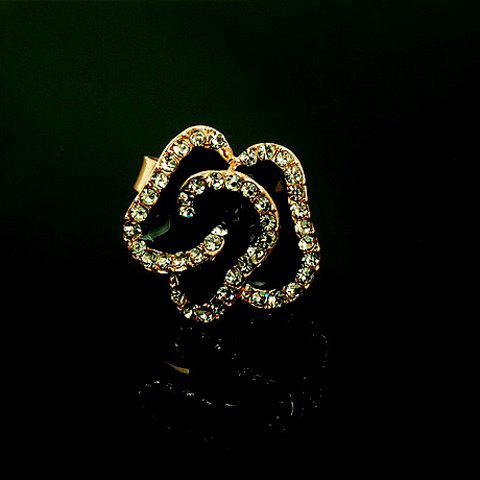 Alloy Rhinestoned Glaze Rose Shape Ring - BLACK ONE SIZE