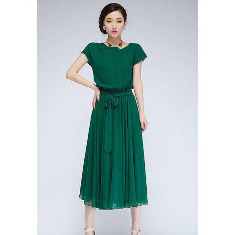 Women's Short Sleeves Cute Solid Color Stringy Selvedge Elastic Waist Pleated Chiffon Dress - GREEN L