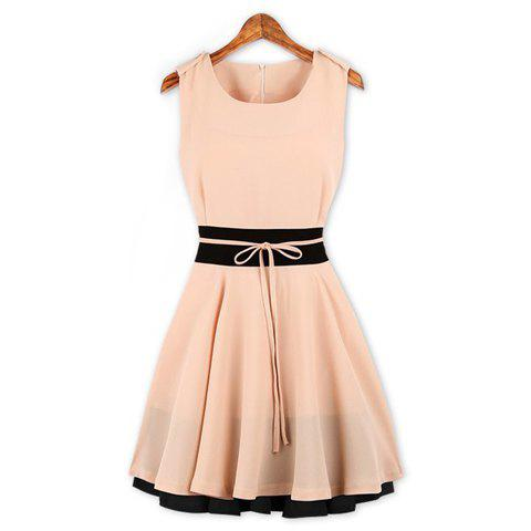Women's Sleeveless Garaceful Zipper Embellished Color Splicing Narrow Waist Polyester Dress - PINK M