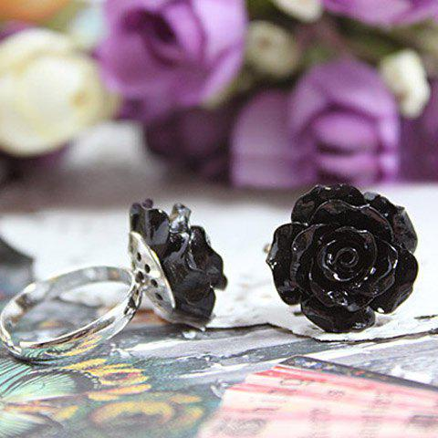 Elegant Style Embellished Rose Shape Ring - BLACK