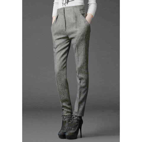 Casual Style Solid Color Woolen High-Waist Women's Pants - GRAY M