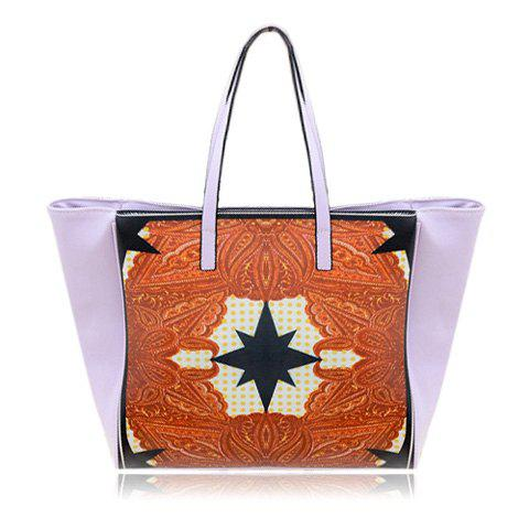 New Arrival Color Matching and Star Print Design Shoulder Bag For Women - PURPLE