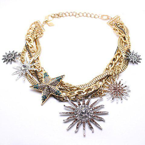 Exaggerated Rhinestoned Multielement Design Winding Necklace - AS THE PICTURE