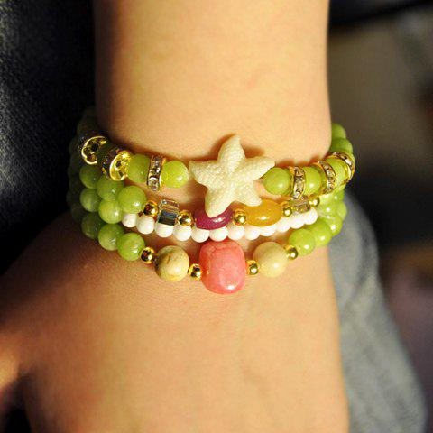 Fresh Five-Pointed Star Embellished Bead Chain Bracelet For Women