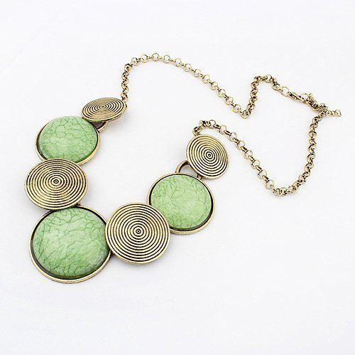 Exaggerated Chic Style Spiral Print Embellished Women's Round Pendant Alloy Necklace