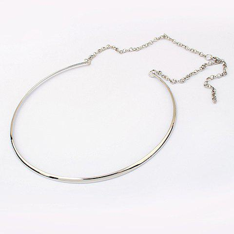 Punk Style Solid Color Embellished Round Alloy Necklace