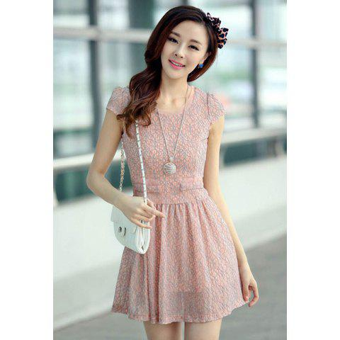 Women's Slim Fit Short Sleeve Solid Color Lace Dresses - PINK L
