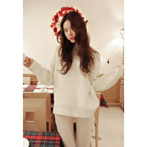Women's Simple Batwing Long Sleeved Apricot Plus Size Sweater