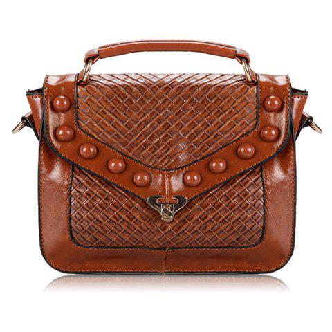 New Arrival Rivets and Checked Design Tote Bag For Women - BROWN