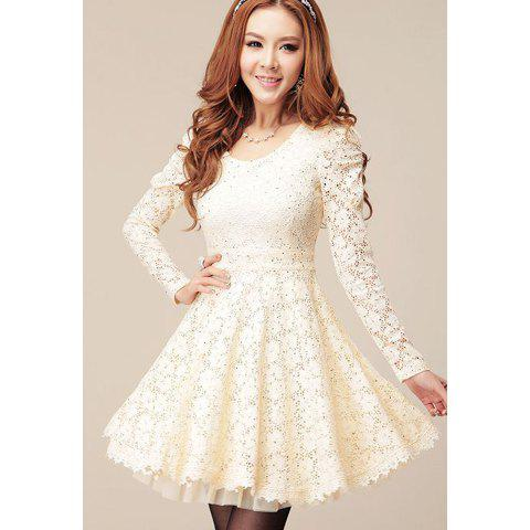 Lace Splicing Long Sleeves Sweet Style Scoop Neck Polyester ...
