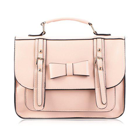 Vintage Style Bowknot and Buckle Design Women's Tote Bag - PINK