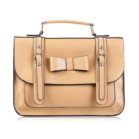 New Arrival Bowknot and Buckle Design Tote Bag For Women - LIGHT BROWN