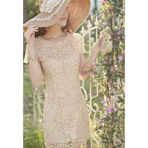 Women's Short Sleeves Garaceful Floral Embroidery Faux Pearl Embellished Openwork Silk Dress - AS THE PICTURE M