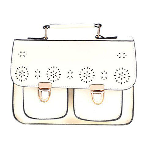 Vintage Style Openwork and Push-Lock Design Women's Tote Bag - WHITE