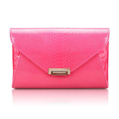 Career Solid Color and Patent Leather Design Women's Clutch - ROSE