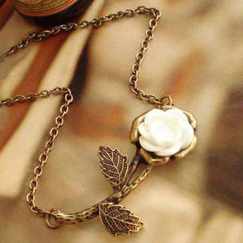 Fashionable White Rose Decorated Long Necklace For Women