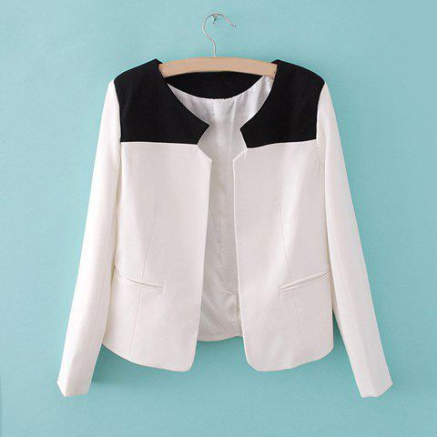 Women's Long Sleeves Fashional Color Splicing Furcal Embellished Coat - AS THE PICTURE S
