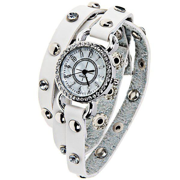 Quartz Watch with 12 Arabic Numbers Indicate and Leather Watch Band for Women - White - WHITE