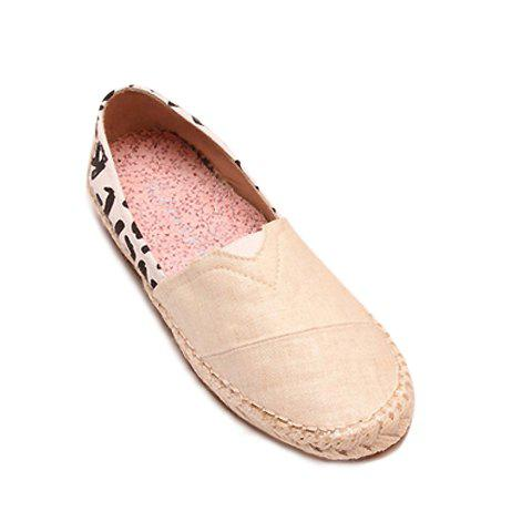 Casual Weaving and Splicing Design Women's Flat Shoes - WHITE 35