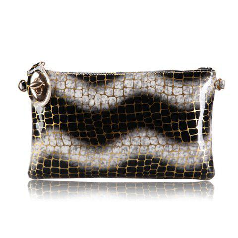 New Arrival Stone Pattern and Wave Design Clutch For Women - BLACK