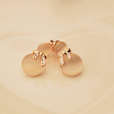Pair of Rhinestone Decorated Gourd Shape Opal Stud Earrings - AS THE PICTURE