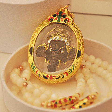 Chic Style Embellished Elephant Head Shape Pendant Pearl Beads Necklace - AS THE PICTURE