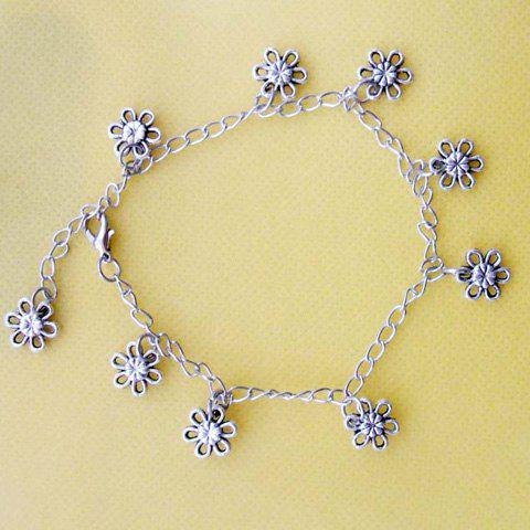 Vintage Style Tibetan Silver Design Women's Tiny Flower Shaped Anklet - SILVER